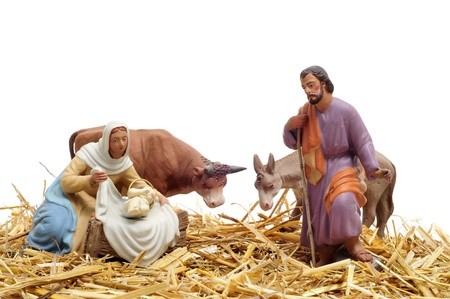 figures representing nativity scene on white background photo
