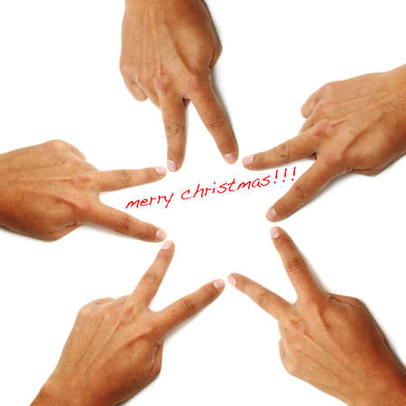 merry christmas written on a white background with hands drawing a star Stock Photo - 8427252