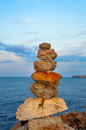 detail of a stone stack in Menorca, Balearic Islands, Spain photo
