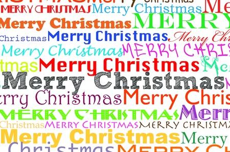 Joyeux Noël, écrit en différentes couleurs et différents types Banque d'images