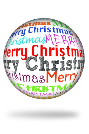 merry christmas written in different colors and different types in a sphere Stock Photo - 8434753