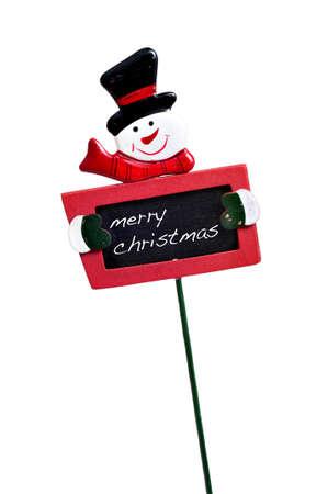 broaching: merry christmas written in a blackboard with a snowman