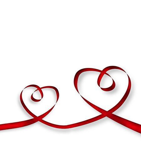 two hearts made with red ribbon on a white background photo