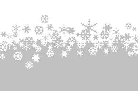 flakes: white and gray snowflakes drawn on a white and gray background Stock Photo