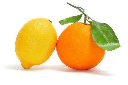 orange and lemon isolated on a white background Stock Photo - 8480991