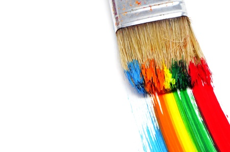 brushstrokes: background made of brushstrokes of different colors with a brush Stock Photo