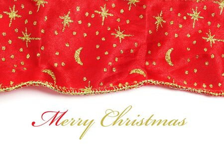 merry christmas written in a background with a christmas patterned fabric Stock Photo - 8485812