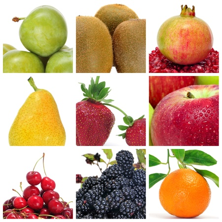 antioxidants: a collage of nine pictures of different fruits Stock Photo