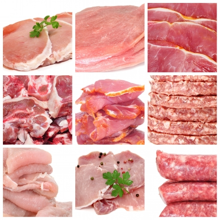 a collage of nine pictures of different meat products Stock Photo - 8497925