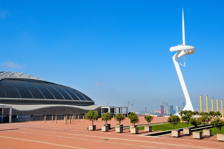palau: Barcelona, Spain - May 23, 2010: Palau Sant Jordi arena and Montjuic Communications Tower in Barcelona, Spain, the area where were played the Olympic Games in 1992