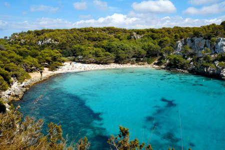menorca: view of Macarella beach in Menorca, Balearic Islands, Spain Stock Photo