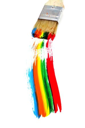 brushstrokes: rainbow made with brushstrokes on a white background