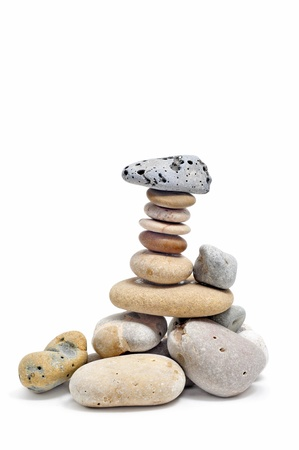a pile of zen stones on a white background Stock Photo - 8517387
