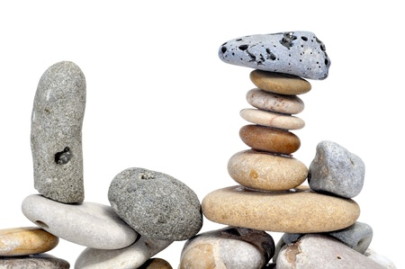 a pile of zen stones on a white background Stock Photo - 8517406