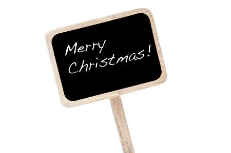 broaching: merry christmas written in a blackboard label