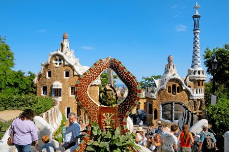 barcelona spain: Barcelona, Spain - June 5, 2010: The famous Park Guell in Barcelona, Spain, designed by Antoni Gaudi Editorial