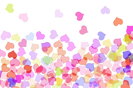 love background: hearts of different colors drawn on a white background
