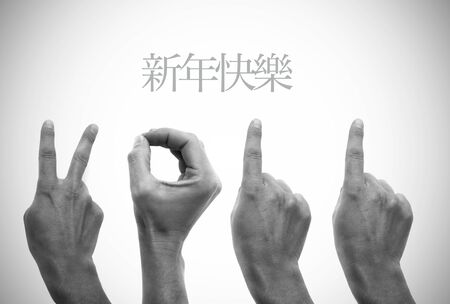 happy new year in chinese with hands forming number 2011 Stock Photo - 8517443