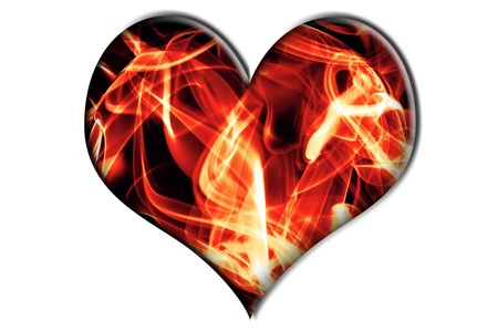 a fire heart isolated on a white background photo