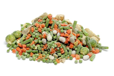 frozen vegetables mix isolated on a white background photo