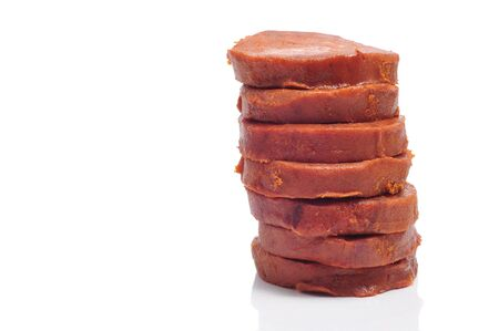 a few slices of sobrasada, a typical sausage of Mallorca, Spain Stock Photo - 8532040