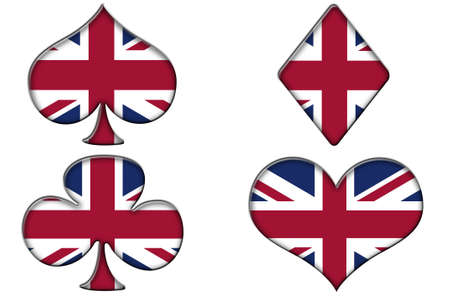 poker suits, spades, hearts, diamonds and clubs, with the british flag on a white background photo