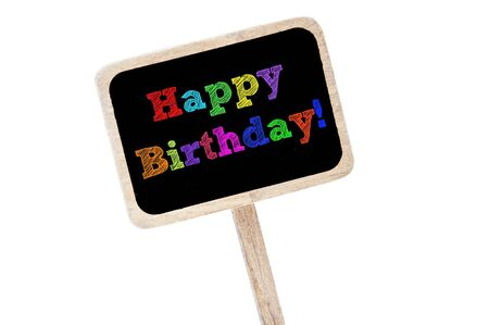 happy birthday written in different colors in a blackboard label photo