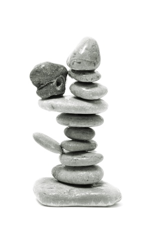 a pile of zen stones on a white background Stock Photo - 8554370