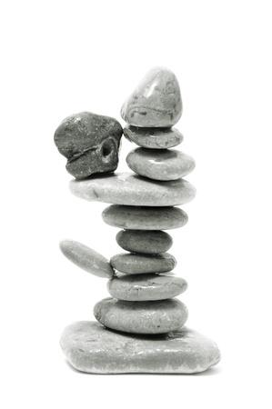 a pile of zen stones on a white background Stock Photo - 8554370
