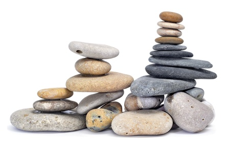 some stack of zen stones on a white background Stock Photo - 8554390