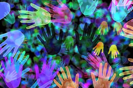 racial diversity: background with hands of different colors drawn Stock Photo