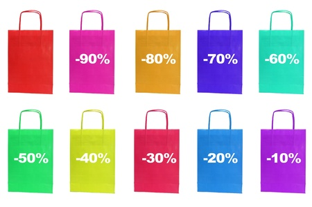 consumerist: paper bag with the percent off written in it isolated on a white background Stock Photo