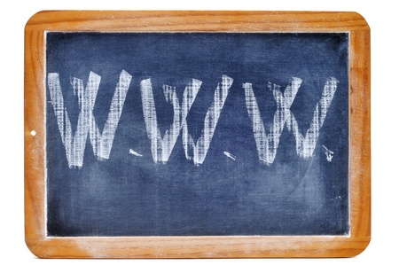www written with chalk in a blackboard Stock Photo - 8593983