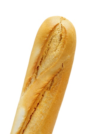 closeup of a baguette isolated on a white background