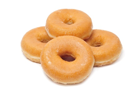 donuts: a pile of donuts  on a white background Stock Photo