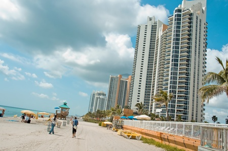 Sunny Isles Beach, United States - August 28, 2009: Sunny Isles Beach in Miami Dade, Florida, USA