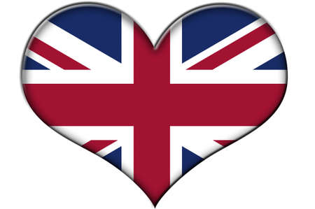a heart with the flag of united kingdom isolated on a white background Stock Photo - 8593988