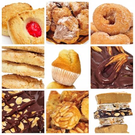 galleta de chocolate: un collage de nueve fotograf�as de diferentes tipos de galletas, dulces y pasteles Foto de archivo