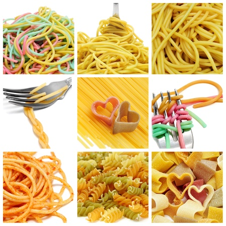 a collage of nine pictures of different kind of pasta photo