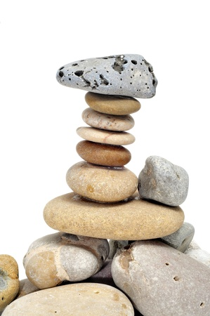 a pile of zen stones on a white background Stock Photo - 8594000