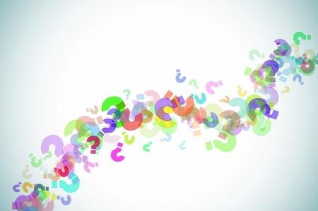 kwis: vraagtekens van verschillende kleuren op een aangetaste achtergrond getekend
