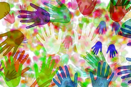 handprints: background with hands of different colors drawn Stock Photo