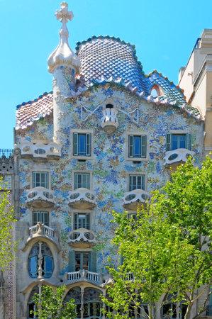 gaudi: Barcelona, Spain - May 23, 2010: Casa Batllo, the famous building designed by Antoni Gaudi, in Barcelona, Spain