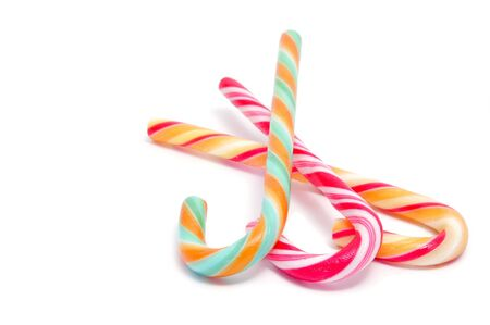 closeup of some candy canes isolated on a white background Stock Photo - 8619907