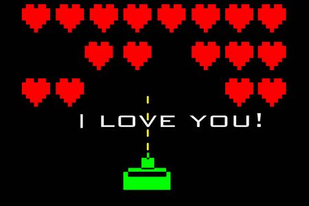 I love you and hearts on a videogame style background photo