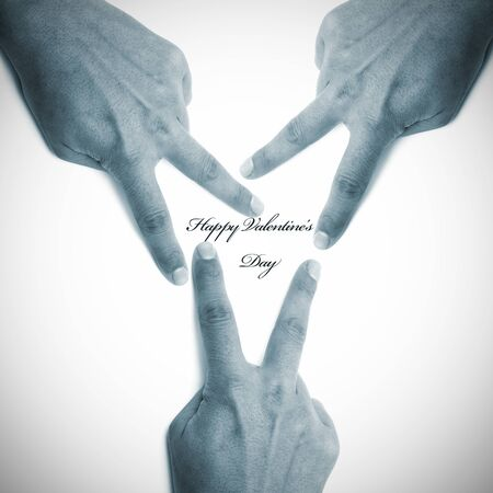 happy valentine's day written with hands forming a heart with its fingers Stock Photo - 8625889