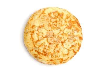 omelette: a typical spanish tortilla de patatas on a white background Stock Photo