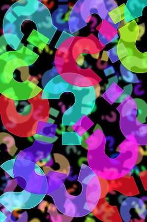 question marks of different colors drawn on a black background Stock Photo - 8625888