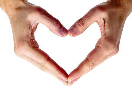part of me: hombre manos formando un coraz�n sobre un fondo blanco