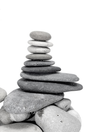 a pile of zen stones on a white background Stock Photo - 8636834